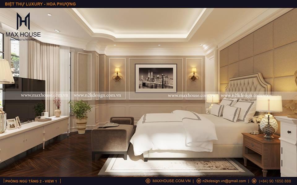 Phòng ngủ cho gia chủ được đặt ở vị trí tầng 2 nên có sự thông thoáng trong không gian. Vẫn sử dụng những gam màu nhẹ mát mang lại cảm giác thư thái và thanh bình.