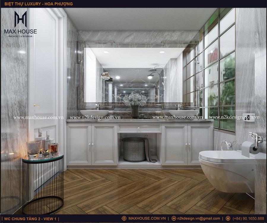 Thiết kế phòng vệ sinh với những chi tiết decor độc đáo lạ mắt giúp cho căn phòng thêm ấn tượng.